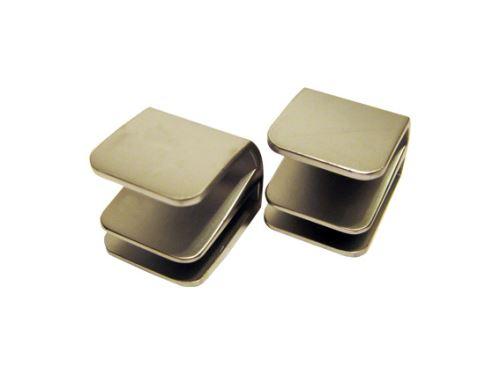 nábytková úchytka kovová, nasouvací madlo na sklo SISO, pár na dvě skleněná křídla, matný nikl