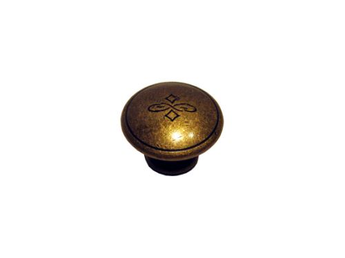 nábytková retro úchytka, kovová knobka 24130, staromosaz, prům. 30mm