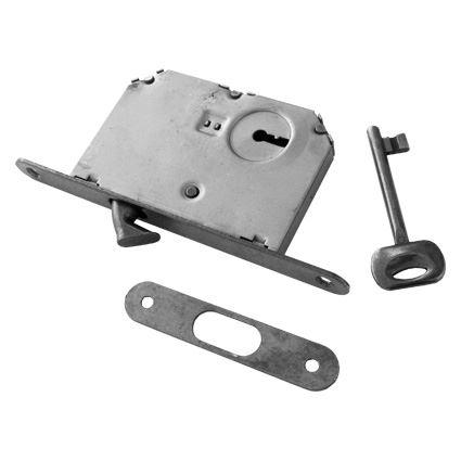 zadlabací zámek s háčkem na posuvné dveře FT 60/50 na klíč, barva bronz