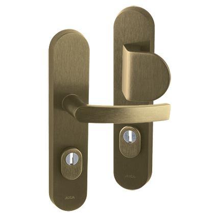 bezpečnostní klika na vchodové dveře AXA Linia BETA Plus, s překrytím proti odvrtání, bronz elox broušený