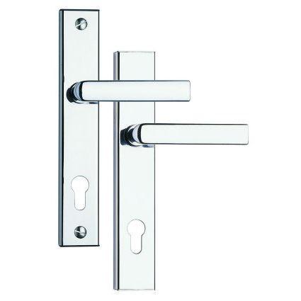 bezpečnostní klika na vchodové dveře Rostex 802, 807, bez překrytí proti odvrtání, chrom