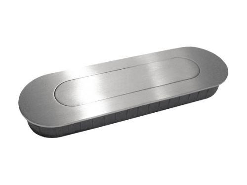 nábytková úchytka kovová do posuvných dveří, zápustné hranaté a oválné madlo s pružinou 224, 225, rozteč 132mm, broušený nikl