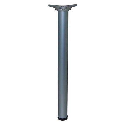 kovová rúrková noha k stolom a nábytku priemer 6 cm, dĺžka 71 cm s pätkou na prichytenie k doske