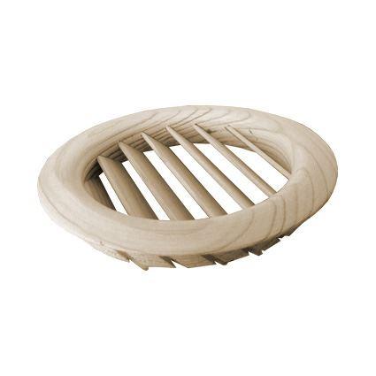 mříž dřevěná větrací nábytková kruhová, LGRS průměr 100mm, šikmé lamely, nelakovaná