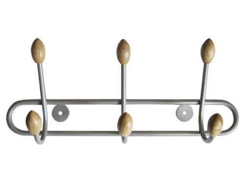 šatní věšák řadový drátový WUB3, řada 3 háčků s dřevěným zakončením na jedné liště, délka 30cm, matný nikl / buk