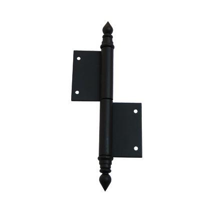 pánt, záves zadlabávací okenný TKZ UŘ14 čierny lak, s ozdobným zakončením