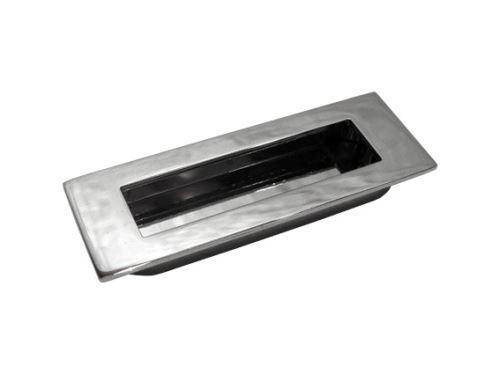 nábytková úchytka kovová do posuvných dveří, zápustné hranaté madlo Leona, rozteč 76mm