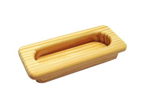 nábytková úchytka drevená do posuvných dverí, zapustené obdĺžnikové madlo 14001,3, dĺžka 110mm, buk, smrek, nelakovaná