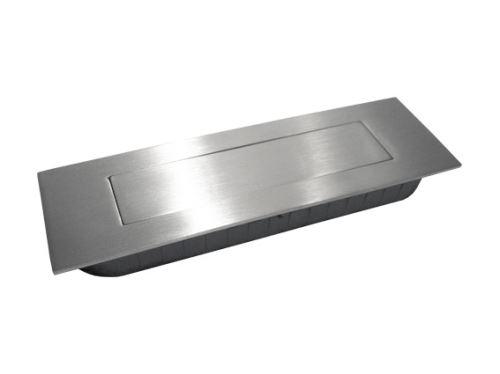 nábytková úchytka kovová do posuvných dverí, zapustené hranaté a oválne madlo s pružinou 224, 225, rozteč 132mm, brúsený nikel