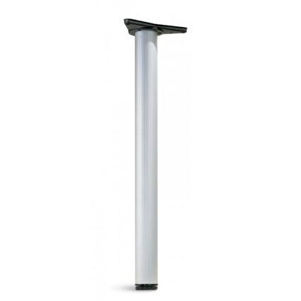 kovová trubková noha ke stolům a nábytku průměr 6 cm, délka 71 cm s patkou k přichycení k desce