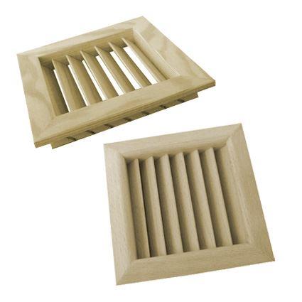 mříž dřevěná větrací nábytková čtvercová, LGES 100x100, šikmé lamely, nelakovaná