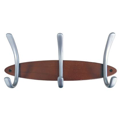 šatňový vešiak radový WUC1, rad 3 háčikov na drevené lište, dĺžka 31cm, orech / matný nikel