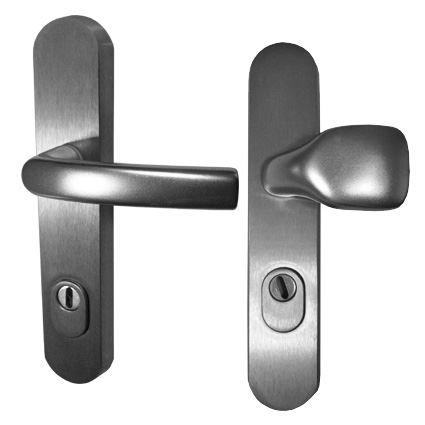 bezpečnostní klika na vchodové dveře BK A1, A4, s překrytím proti odvrtání, nerez elox broušený