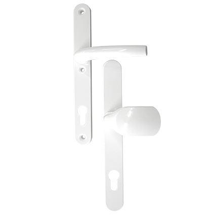 bezpečnostní klika na plastové dveře Richter F9016, bez překrytí proti odvrtání, bílá, rozteč 92mm