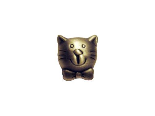 nábytková úchytka dětská, kovová knobka Kočka 12168, matný nikl