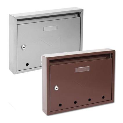 poštovní schránka paneláková kovová Pavel, 320x240x60mm, do sestavy, bílá, hnědá