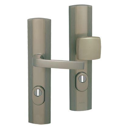 bezpečnostní klika na vchodové dveře AXA Linia PRESTIGE Plus, s překrytím proti odvrtání, nerez elox broušený