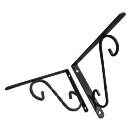 úhelník pod police, kovový retro držák polic dekorativní, černý