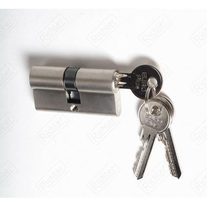 stavební cylindrická vložka EURO PLUS  prodloužená, nikl, 2. třída bezpečnosti, 3 klíče