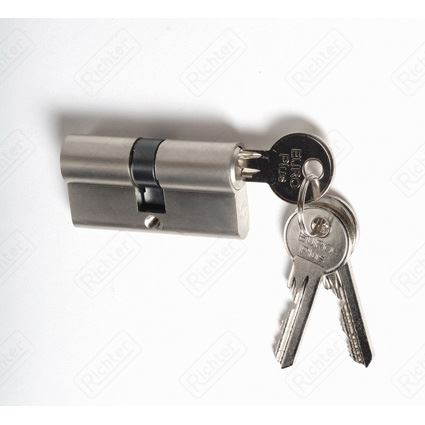 stavebná cylindrická vložka EURO PLUS predĺžená, nikel, 2. trieda bezpečnosti, 3 kľúče