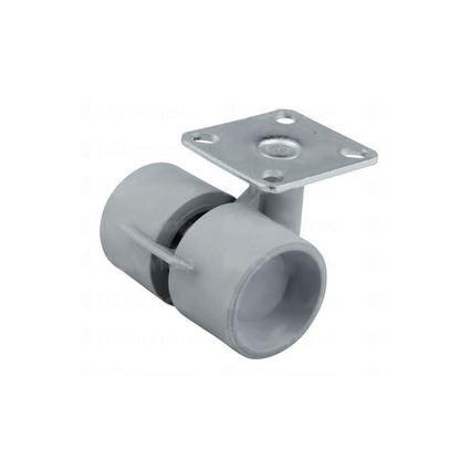 kolečko plastové s měkčeným gumovým povrchem s destičkou (k přišroubování) k nábytku průměr 40mm, s brzdou