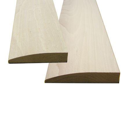 dřevěný nelakovaný práh pod vnitřní dveře, buk, šikmý s oblou čelní stranou, výška prahu 20mm